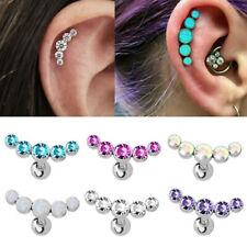 16g Crystal Stars Ear Climber Cartilage Helix Stud Ring Bar Piercing Earring NEW