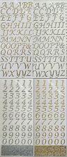 Italique script alphabet ou nombres autocollante paillettes stickers or ou argent