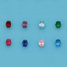 Sterling Silver OVAL Color Stone Stud Earrings-Birth Stone Earrings-Oval Stud