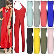 NEW LADIES HIGH SIDE SPLIT SLIT LONG DRESS WOMENS MIDI MAXI LOOK TOP DRESSES