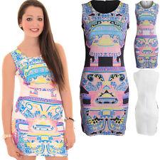 Ladies Sleeveless Retro Arcade Gaming Aztec Print Mini Bodycon Dress