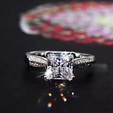 Size 4-9 Handmade Princess Cut 2ct Diamonique CZ 925 Silver Women's Wedding Ring