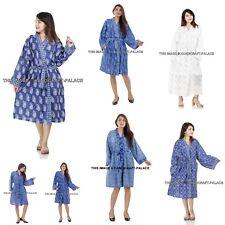 Cotton Blue Kimono Bath Robe Dressing Gown Wedding Bridesmaid Sleepwear Bathrobe