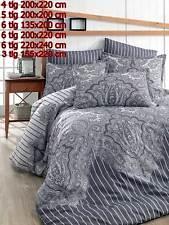 Bettwäsche Bettgarnitur Bettbezug 100% Baumwolle Kissen Decke LALE GRAU