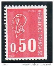 Marianne de Béquet 0F50 rouge - 3 bandes de phosphore - N° rouge au verso YT 166