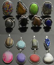 Jasper & Mix Gemstone 925 sterling silver plated rings & pendants wholesale Lot