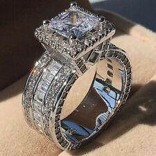 Gorgeous Women 925 Silver Wedding Rings Princess Cut White Sapphire Sz 6-10