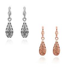 18K White/Rose Gold Filled Filigree TearDrop Shaped 30MM Dangle Earrings Jewelry
