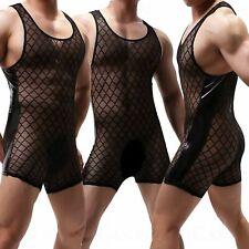 Men/'s Faux Leather Boxer Pouch Bulge Body Leotard Bodysuit Underwear Good C097