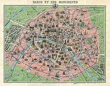 1920 Map Paris Versailles Monuments Vintage Wall Poster Office Home School Print