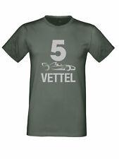 Sebastian Vettel 5 F1 Auto Ferrari Gran Premio Argento Logo T-Shirt