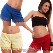 Mujer pantalones cortos shorts dobladillo encaje elegantes elástico hot jadear