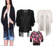 Womens New Plain Kimono Chiffon Tassle Open Cardigan Ladies Batwing Fringe Top