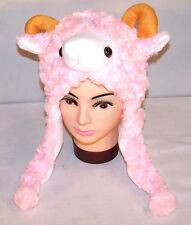 SHEEP PLUSH ANIMAL HAT winter novelty RAM animals goat fun headwear kids adult