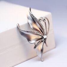 Elegant Butterfly Flowers Brooch Pin Crystal Rhinestones Silver/Gold Jewelry