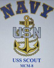 USS SCOUT  MCM-8* MINE COUNTERMEASURES* U.S NAVY W/ ANCHOR* SHIRT