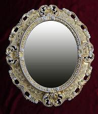 Espejo de Pared Oro Blanco Ovalado 45x38 Barroco Antiguo Repro Vintage NUEVO 345