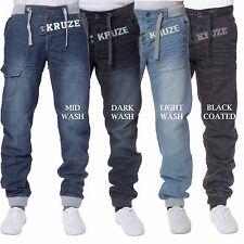 Homme kruze neuve de la marque délavé enduit revers jeans all taille tailles 28-48