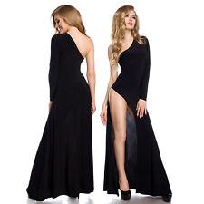 Vestido Sexy SISA De Pierna ASIMÉTRICO MANGA LARGA palabra longitud negro 34-42
