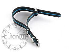 Uhrenarmbänder-Militär Nylon Zulu Band schwarz blauen streifen extra stark 20mm
