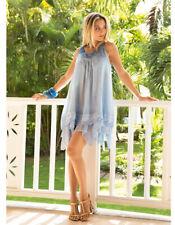 Iconique Azzurro Blue Cotton Sleeveless Beach Dress 621-KO