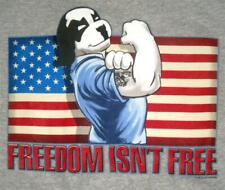 Freedom Isn't Free Flex Muscle Flag Big Dogs Tee Shirt Med XL 2X Gray Heather