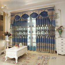Custom luxury European blue velvet embroidery blackout curtain valance M702