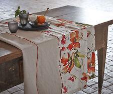 Tischläufer Mals 50x160 Blumen Blüten mango orange linnen Proflax Tischdecke