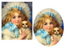 Vintage Image Victorian Little Girl Puppy Dog Transfers Waterslide Decals KID688