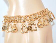 BRACCIALE donna oro CIONDOLI CUORI cristalli catena regalo san valentino Z22
