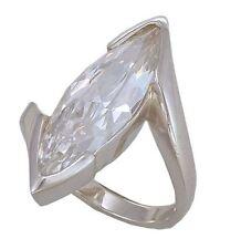 exkl. Ring 925-iger Sterlingsilber Ellipse Zirkonia weiß, versch. Größen
