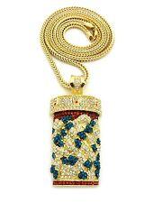 """Pave Colorful Pill Bottle Pendant 4mm 36"""" Franco Chain Hip Hop Fashion Necklace"""