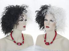 Black / White Cruel Lady Medium  Curly Fun Color Costume Wigs