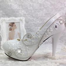 "Women Lace Gems Wedding Bridal Bridemaid Pump 2""/3""/4"" Heels Flat shoes"