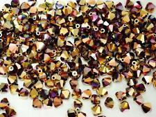 Czech MC Glass Bicone Beads (Rondell/Diamond) Jet California Pink, gold
