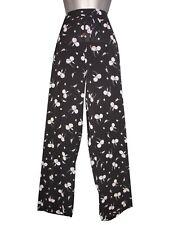 Plus size black floral drawstring bubble crepe trousers