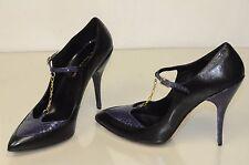$1195 NEW OSCAR De La RENTA black Leather Purple Snake gold chain Shoes Pumps 41