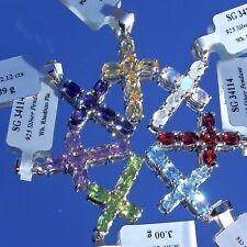 2.5 cts Gemstone Cross Pendants 925 Silver Jewellery Peridot Iolite Garnet Topaz