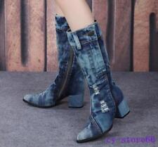 Retro Women's Denim Jean Knee High Boots Block Heels Side Zip Pointed Toe Shoes