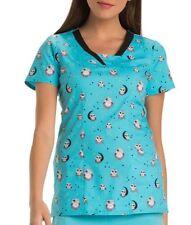 HeartSoul Scrubs Print V Neck Top Hoo's Up Late HS600 Choose Size NWT