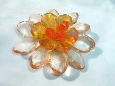 VINTAGE ESTATE LARGE ORANGE YELLOW RESIN FLOWER PIN IN GIFT BOX