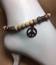 Handmade Leopard Jasper Stone Anklet/Ankle Bracelet W/Turtle/Peace Sign USA