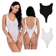 Women Sexy Sheer High Cut Bikinis Leotard Thong Backless Bodysuit Teddy Swimwear