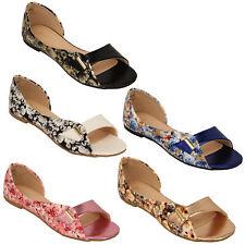 Sandalias planas Para Mujer Estampado Floral Mujer peep toe sin cordones bella