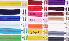 1 Meter Reißverschluß Reißverschlüsse endlos 2,6cm breit incl.3 Zipper Farbe