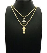 "Egypt Mini Ankh, Nefertiti Pendant 20"",24"" Rope Chain 2 Necklace Set RC2435G"