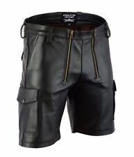 AW-7520 Zimmermann Shorts Soft Leder in Cargo Look,ledershorts Carpenter Pants