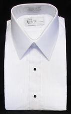 New Men's White Tuxedo Shirt Laydown Collar Pintuck Pleated Front Prom XS 30/31