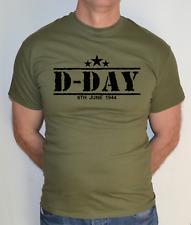 D-DAY,1944,ARMY,NORMANDY, MILITARY,CHURCHILL,B WW2,MILITARY GREEN, T SHIRT