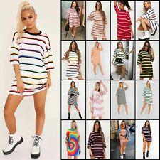 Womens Stripe Oversized Boyfriend T Shirt Dress Casual Tee Baggy Loose Long Tops